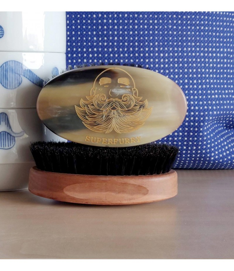 BEARD BRUSH PEAR WOOD / HORN